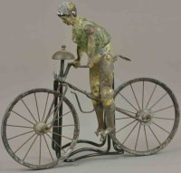 Unknown Tin-Figures Early boy on bicycle, hand painted...