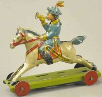 Meier Tin-Penny Toy Boy on horse, lithographed tin,...