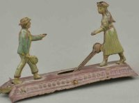 Unknown Tin-Penny Toy Tennis players, rare articulated...