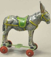 Unknown Tin-Penny Toy Donkey on platform, made in...