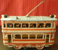 Orobr Tin-Buses Tin wind-up double decker trolley tram...