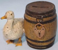 Bing Tin-Mechanical Banks Barrel with goose as mechanical...
