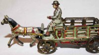 Meier Tin-Penny Toy Horse-drawn carriage with coachman,...