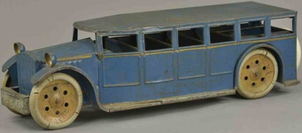 Schieble Tin-Buses Passenger bus, pressed steel, painted in blue with gold stri