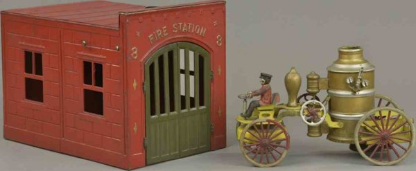 Wilkins Tin-Buildings Fire station and pumper with open service frame, contains se