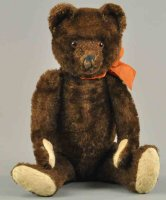 Bing Baers Teddy bear, dark brown mohair, shaved nose,...