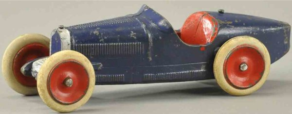 Skoglund & Olson Cast-Iron Race-Cars Bugatti race car, cast iron boat tail racer, painted in blue
