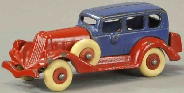 Hubley Tin-Oldtimer Packard take-apart car, cast iron, repainted in red and blue