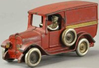 Arcade Cast-Iron trucks Panel truck, red van, cast iron,...