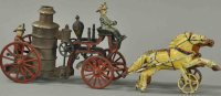 Harris Toy Co Cast-Iron-Carriages Fire pumper wagon, rare...