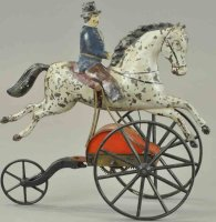 Stevens & Brown Tin-Figures Man on horse with clockwork,...