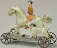 Hull & Stafford Tin-Figures Horse with rider and dog on...