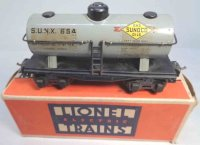 Lionel Railway-Freight Wagons Metal Sunoco tank car with...
