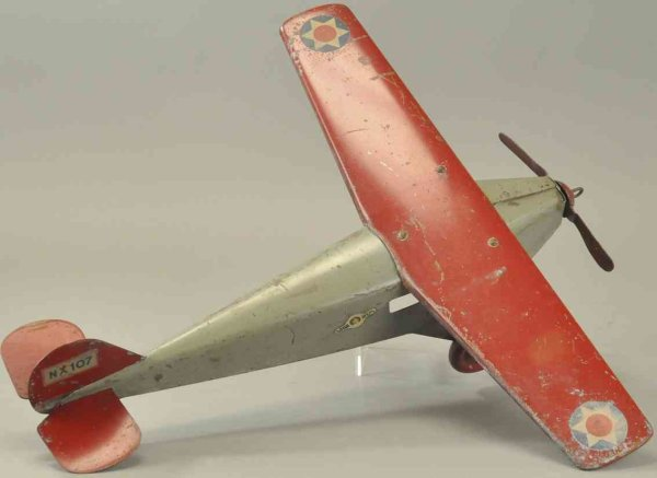 Murray Tine Ariplanes Little Jim mono-coupe airplane, pressed steel, painted in gr