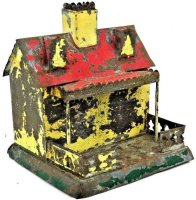 Brown George Tin-Mechanical Banks Tin cottage as...