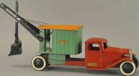 Structo Tin-Trucks Dredger truck, red enclosed cab with...