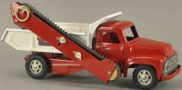 Buddy L Tin-Trucks Side conveyer dump, pressed steel, red...