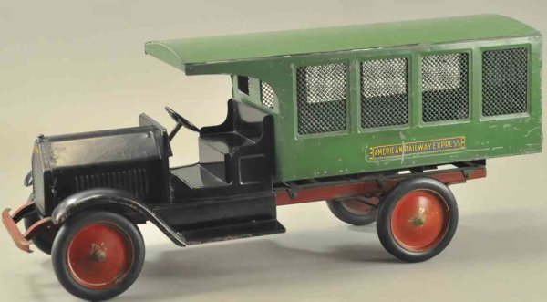 Sturditoy Tin-Oldtimer American railway express truck, pressed steel, four screen p