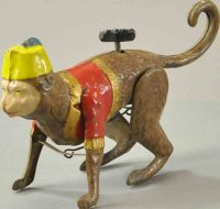 Unknown Tin-Animals Crawling monkey with fez, made in...