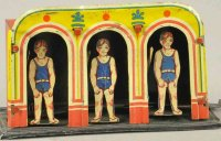 Unknown Tin-Penny Toy Bathing house with three swimmers...
