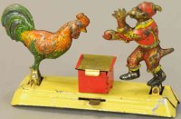 Meier Tin-Penny Toy Monkey with rooster on base, embossed...