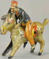 Unknown Tin-Figures Man riding donkey, made in Germany,...