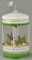 Doll Tin-Carousels Large squeeze carousel, spray painted...