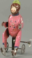Unknown Tin-Figures Monkey on clockwork cart, made in...