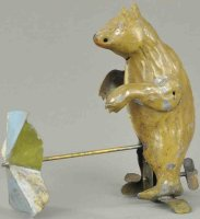 Unknown Tin-Animals Bear with spinning umbrella, made in...