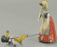 Unknown Tin-Figures Farmer girl withtwo  chickens, made...