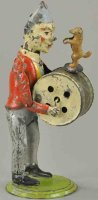 Unknown Tin-Clowns Clown minstrel drummer with poodle,...