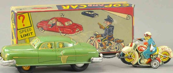 TKK Tin-Cars Motorcycle cop chasing car, lithographed tin example done in
