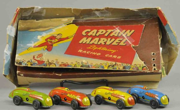 Automatic Toy Works Tin-Race-Cars Captain Marvel lightning racing cars with box, scarce set fe