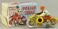 Marx Tin-Motorcycles Police squad cycle with original...