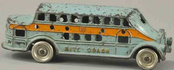 Kenton Hardware Co Cast-Iron buses Nite coach, cast iron, painted in light blue body with orang
