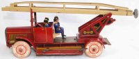 Tippco Tin-Fire-Truck Fire brigade cart in red and...