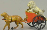 Unknown Tin-Figures Poodle in dog chariot, hand painted...