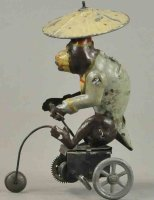 Unknown Tin-Figures Monkey with umbrella on bicycle, hand...