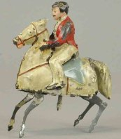 Unknown Tin-Figures Boy on prancing horse, wind-up toy,...