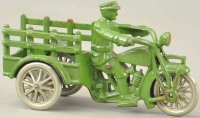 Hubley Cast-Iron-Motorcycles Indian traffic car, cast...