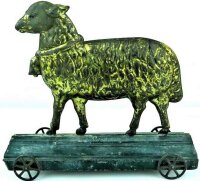 Fallows Tin-Animals Large lamb on platform with little...