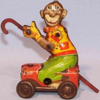 Hoefler J H Tin-Figures Monkey with stick on soap box...