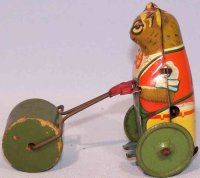 Hoefler J H Tin-Figures Bear with roller and clockwork,...