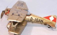 Tippco Tine Ariplanes Biplane with emblem, pilot and...