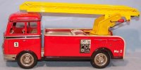 Goeso Tin-Fire-Truck Fire ladder wagon with flywheel,...