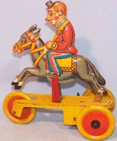 Schuco Tin-Clowns Clown on donkey with spring mechanism,...