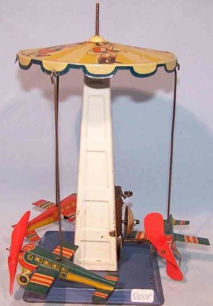 Hoch & Beckmann Tin-Carousels Childrens carousel with three airplanes, clockwork and bell
