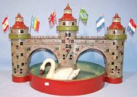 Doll Tin-Toys Water castle with swimming swan and...