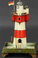 Doll Tin-Toys Electric lighthouse, with unique turrets,...
