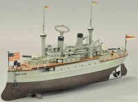 Fleischmann Tin-Ships Clockwork battle ship #640/52 New...
